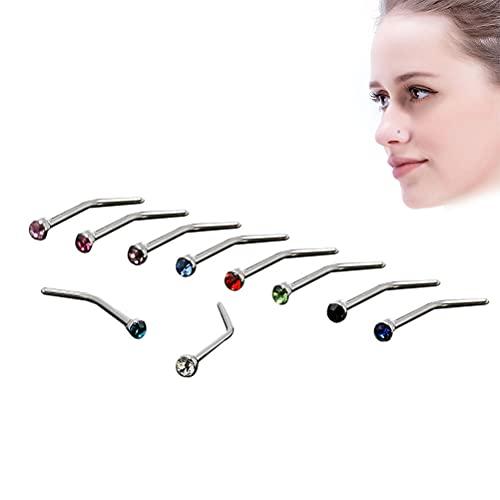 10 piercings curvados para nariz de acero inoxidable con cristales en L y curvados, ideal para joyas de adultos, nariz, cejas, labios, orejas