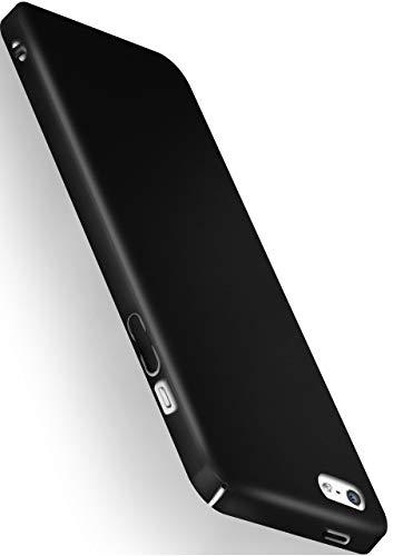 moex Alpha Hülle kompatibel mit iPhone 5s / 5 / SE (2016) - Hülle Ultra dünn, Handyhülle aus Hartplastik, Schutzhülle matt Hardcase, Schwarz
