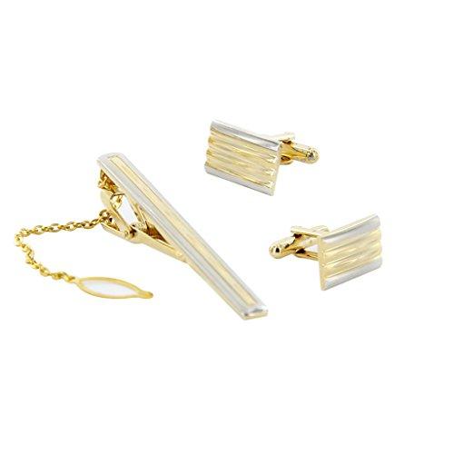 Set Boutons de Manchette Pince à Cravate pour Homme avec Boîte Cadeau - Or #4
