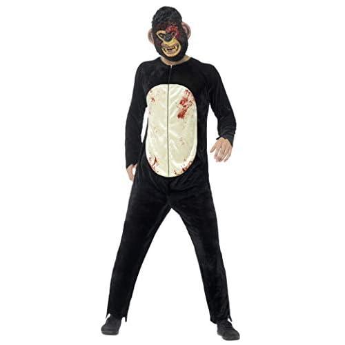 SMIFFYS Costume deluxe scimpanzé zombie, Nero, con tuta e maschera in E.V.A.