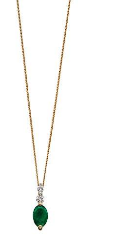 Elements Gold Colgante de oro amarillo de 9 quilates con esmeralda y diamante en una cadena de longitud 46 cm AZ-GP2055G