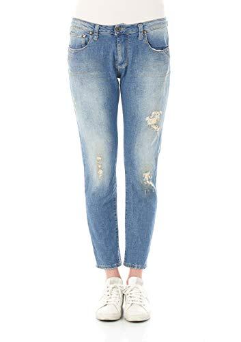 Please Damen Jeans P38F - LAV52830 - Straight Fit - Blau -Blue Denim XXS XS S M L XL 98% Baumwolle Stretchjeans Damenjeans, Größe:S, Farbvariante:Blue Denim (0021)