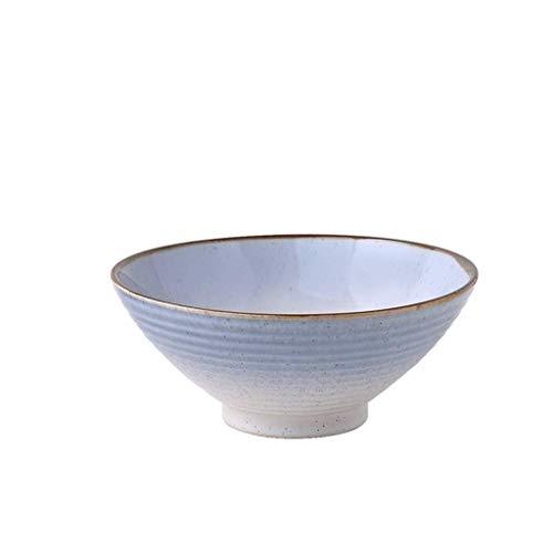 CAIJINJIN Tazón Cuenco de cerámica Cuenco de cerámica Vajilla Postre Bocado secado de la fruta del plato de ensalada de fruta Placa azul degradado 20.5x8.3cm