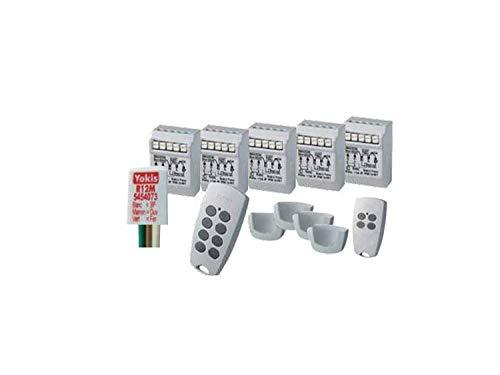 Yokis Urmet 5454556 draadloze automatiseringsset met 5 rolluiken met afstandsbedieningen en houders