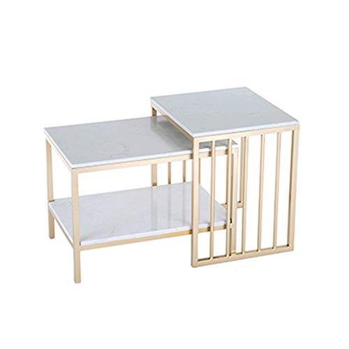 Tavolini Tavolini Estraibili Tavolini da Salotto Top in Marmo Mobili Moderni Decor Tavolino Tavolino Rettangolare per Soggiorno Set casa e Ufficio Set da 2, Nero/Oro