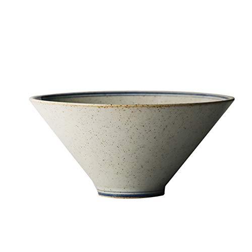 KJinZ - Vajilla de cerámica para cocina y comedor, hecha a mano, cuenco de cerámica gruesa para pasta, cuencos de cereales, apto para lavavajillas y microondas (tamaño 390 ml)