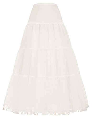 Womens Long Cancan Skirts Petticoat A-line Princess Skirts (L,Ivory)