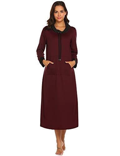 Ekouaer Long Nightgown Women Long Sleeve Loungewear Nightshirt Full Length Warm Maxi Nightdress Wine Red