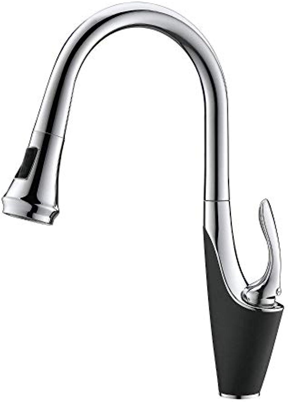 Wasserhahn Hochlichtbogen-Ausziehhhne Einstufige Messing-Küchenarmatur Mit Pull-Down-Sprüher, Sprüher Mit Drei Reinigungsmodi, Verchromt