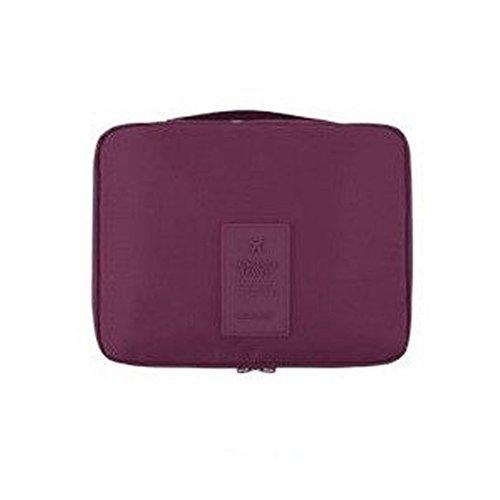Sacs de rangement de voyage Trousse de maquillage Sacs à cosmétiques Brosse sac Boîte-vin rouge 22x18x8cm(9x7x3inch)