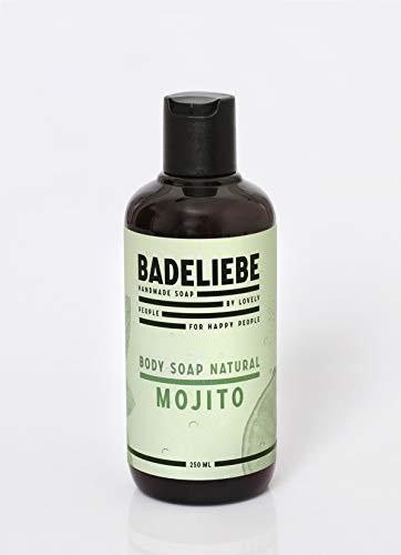 BADELIEBE Duschgel mit Mojito-duft – 250 ml vegane Duschseife in 100% recycelter Flasche zur Reinigung und Pflege von Gesicht & Körper – Frei von Palmöl und Tierversuchen