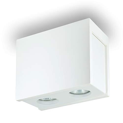 Sergio opbouwverlichting, plafondlamp, opbouw, vierkant, incl. X plafondlamp, spotje, plafondlamp, kubuslamp, kroonluchter van gips/staal 230 V fitting GU10 - zonder lampen