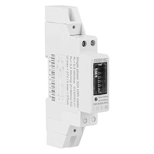 Carril Din para el hogar Pantalla digital monofásica Consumo eléctrico Wattímetro Medidor de energía Watt kWh 5-32A 230V 50Hz