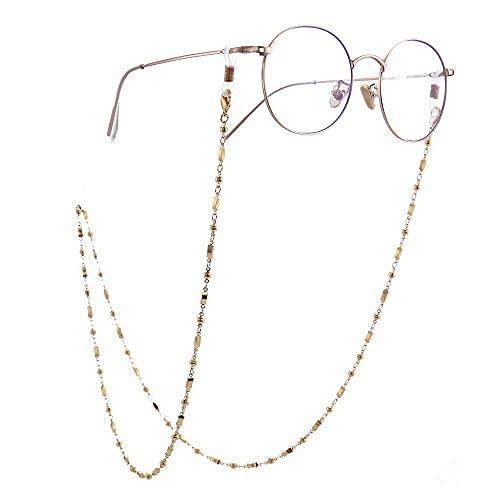 AMOZ Moda Rectangle Link Secure Eyeglass Sunglass Strap Holder Link Chain para Mujeres Niñas Cadena de Oro Rosa,Cadena de Oro, Bobina Blanca