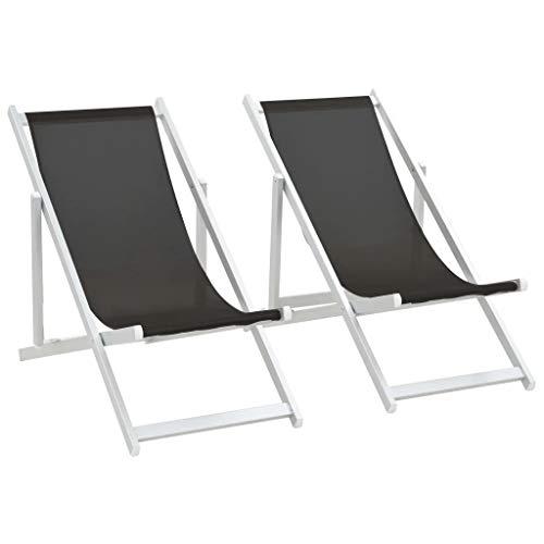 CFG Campingstühle, 2 Stück, zusammenklappbar, tragbar, Strandstühle, Garten, Camping, für Outdoor, Aluminium und Schwarz, 110 x 57 x 83 cm