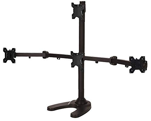 """EZM Articulating Pyramid 1 Over 3 Quad Monitor Mount Stand Free Standing with Grommet Mount Option up to 24"""" (002-0034)"""