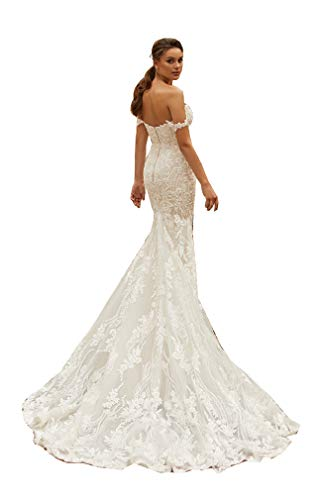 Melisa Sweetheart Mermaid Wedding Dress for Bride with Train Elegant Lace Off The Shoulder Beach Bridal Ball Gown Ivory