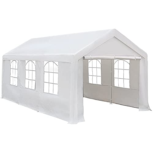 Abba Patio Carport Heavy Duty Carport with Removable Sidewalls & Doors Portable Garage Extra Large Car Canopy for Auto, Boat, Party, Wedding, Market stall, 10 x 20 ft with 8 Legs, Ivory