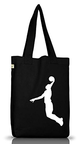 Shirtstreet24, BASKETBALL PLAYER, NBA Sport Jutebeutel Stoff Tasche Earth Positive (ONE SIZE), Größe: onesize,Black