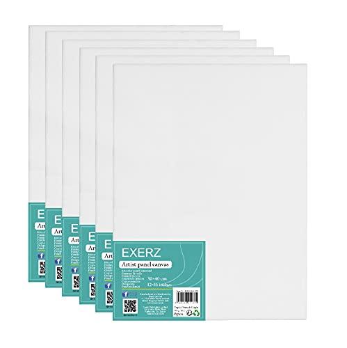 Exerz Panneaux de Toile 6 pièces- 40 x 30cm- 3mm/ Cartons entoilés/Toile à Peindre/ 280GSM/ 100% Coton/Blanche/Triple apprêt/sans Acide/Grain Moyen/Peinture à Huile/Gouache/Acrylique