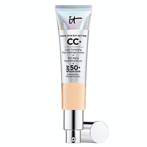 IT Cosmetics Your Skin But Better CC+ Cream, Light Medium (C) - Color Correcting Cream, Full-Coverage Foundation, Hydrating Serum & SPF 50+ Sunscreen - Natural Finish - 1.08 fl oz