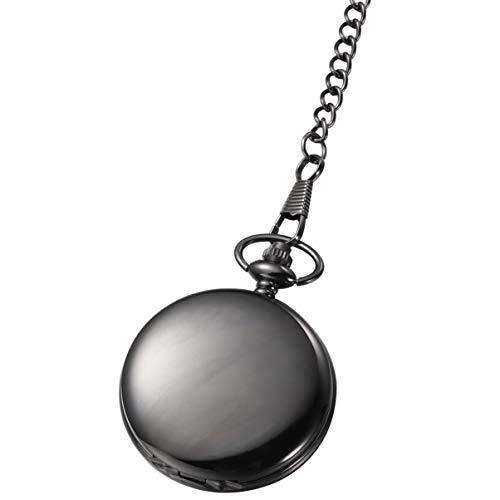 Hemobllo Relógio de Bolso Vintage – Relógio de Bolso Clássico de Quartzo Suave com Corrente Retrô Relógio de Bolso de Quartzo Masculino Feminino para Presente de Dia dos Pais, Preto, 43×5cm