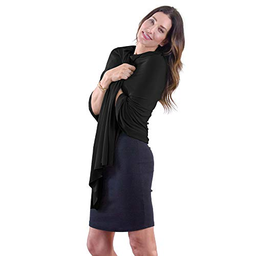 HappyLuxe Shawl Wraps for Women | Travel Blanket Airplane | Pashmina Scarf | UPF 50+ | Made in the USA | Eco-Cashmere Jet Black