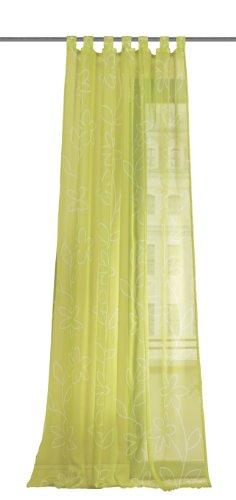 Home Fashion Wohnprofi Voile - Tenda Verona con Occhielli, Tessuto con Stampa, 245 x 140cm a Fiori Verde