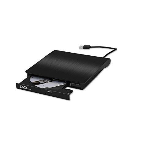 External CD Drive, USB 3.0 Slim DVD Writer Rewriter Burner High Speed Data Transfer for Desktop/Laptop/Linux/Mac OS/Windows10/8/7 (2021 Upgrade, Black)