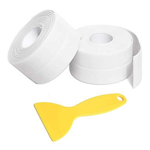 Caulk Strip Tape, PVC Waterproof Self Adhesive Tape for Bathtub Bathroom Shower Toilet Kitchen Sink Floor Wall Corner Edge Sealing Protector with Sealant Tool, White, 2PCS (W:38mm L:11Ft)