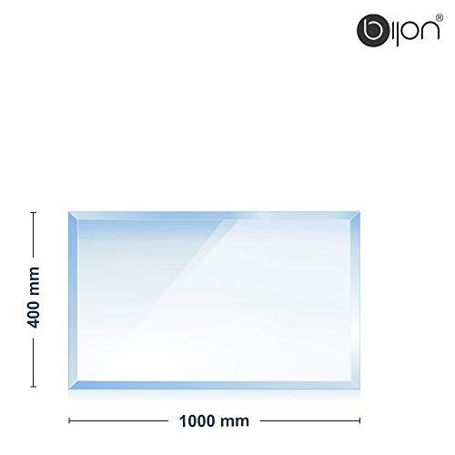 bijon® - 6mm Kamin Glasbodenplatte - Rechteck 400x1000x6mm - 18mm Facette