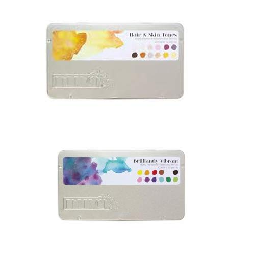 Nuvo Watercolor Pencil Set Of 12 - Hair & Skin Tones And Brilliantly Vibrant