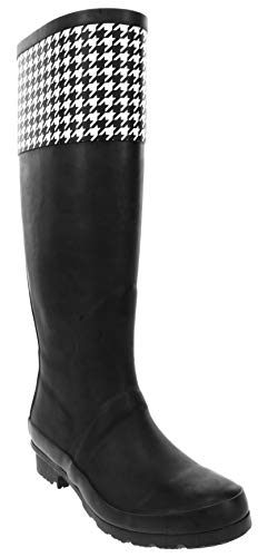 LONDON FOG Womens Thames Rain Boot Black Houndstooth 8 M US