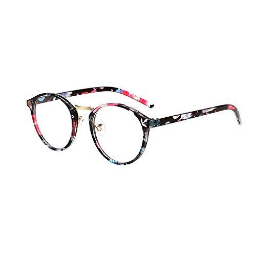 Dorical Damen Brille, Frauen Mode Unisex Klassisch Metall Rahmen Spiegel Gerundet Gläser Sale(A)