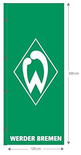 Werder Bremen Fanartikel-Hissfahne groß-120 x 300 cm-Flagge/Fahne, grün, L
