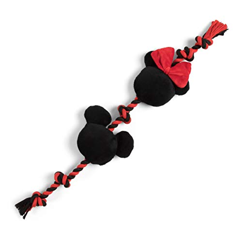Disney Mickey and Minnie Sliding Rope Dog Chew Toy with Squeaker - 17' Long