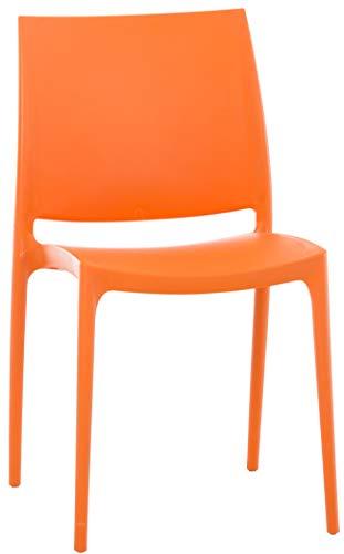 CLP Silla Apilable Maya De Exteior o Interior | Silla De Jardín Resistente A La Intemperie | Silla De Terraza Hecha De Polipropileno I Color: Naranja