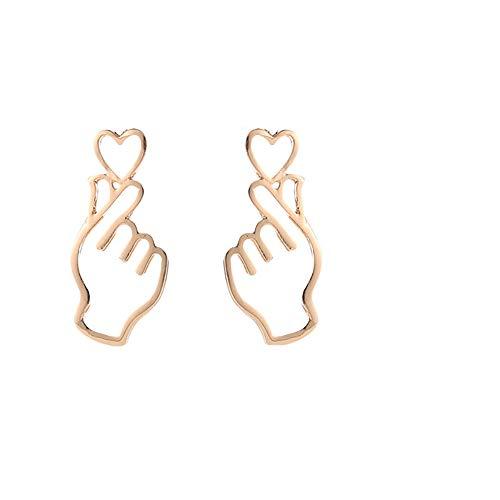 Lazzgirl Persönlichkeit Metall Liebe Ohrringe Herz Geste Ohrringe aushöhlen(Gold, Silber, Schwarz)