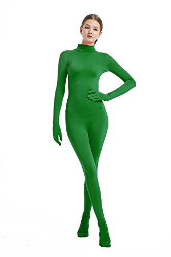 Full Bodysuit Womens Costume Without Hood Spandex Stretch Zentai Unitard Body Suit (Small, Green)