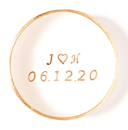Personalized Engagement Ring Dish Holder with Initial for Bride and Newlywed Couple
