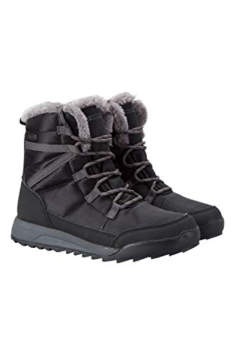 Mountain Warehouse Botas Leisure de nieve para mujer - Calzado de invierno cálido a prueba de nieve, piel sintética, forro Sherpa, suela de alta tracción - Para caminar Negro Talla Zapatos Mujer 40 EU