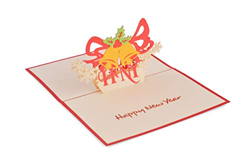 (Pack de 2) Tarjeta desplegable 3D hecha a mano, Christmas Bell 01 (en colección de tarjeta de cumpleaños, amor, tarjeta de agradecimiento, tarjeta de San Valentín, tarjeta de flores)