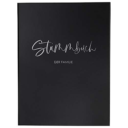 DeinWeddingshop Stammbuch der Familie - Familienstammbuch Hochzeit Standesamt - Deluxe Serie - Hardcover 16x21cm (Schwarz/Silber)