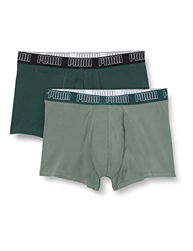 PUMA Men's Basic Trunk Boxer Court, Green Combo, M Homme