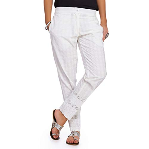 NAARI Women's Cotton Ankle Length Straight Fit 2 Pockets Trousers...