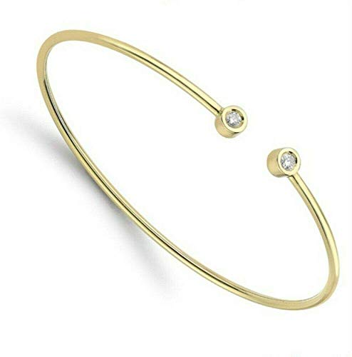 18ct Oro Amarillo Diamante Pulsera Rígida Dos Superior Diamantes Pulsera Certificado