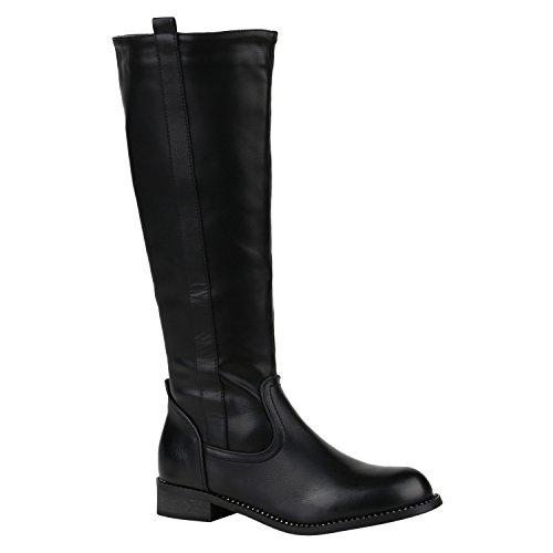Gefütterte Damen Stiefel Klassische Langschaft Boots Schuhe 149673 Schwarz Strass 37 Flandell