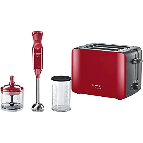 Bosch MSM67120R ErgoMixx Stabmixer, 750 W, bordeaux & Bosch Kompakt Toaster ComfortLine, integrierter Edelstahl-Brötchenaufsatz, mit Abschaltautomatik, mit Auftaufunktion, 1090 W, rot