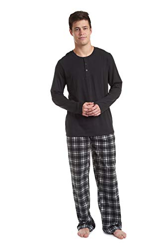 Cherokee Men's Long Sleeve Pajama Shirt and Pants Set, Black Plaid, Medium
