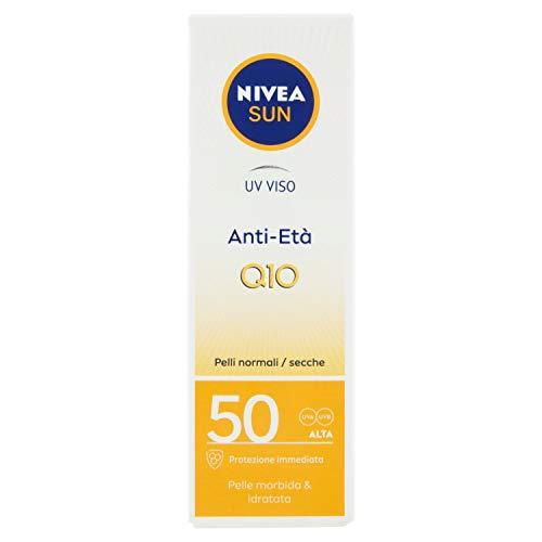 NIVEA SUN Crema viso UV Anti-Età FP50 in Tubetto da 50 ml, Crema Antirughe con Coenzima Q10, Crema Solare per il Viso Protegge la Pelle dal Precoce Invecchiamento della Pelle